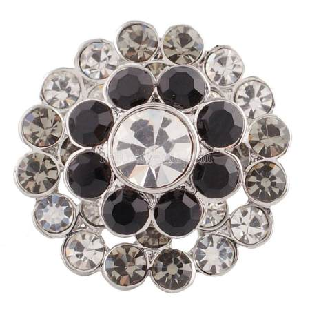 20MM Flower snap silver plated KC5014  with gray Rhinestones interchangeable snaps jewelry