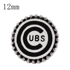 12MM Team snap Silver Plated with black enamel KS8065-S snaps jewelry
