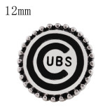 12MM Team snap Plateado con esmalte negro KS8065-S broches de joyería