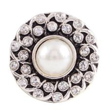 20MM round snap button Antique Silver Plated with white imitation pearl white rhinestone  snap jewelry