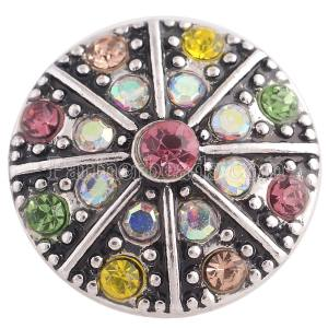 20MM design snap Antique Silver Plated with colorful Rhinestone Multicolor
