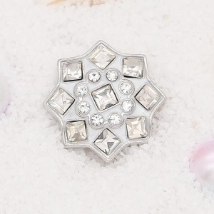 20MM  design snap Silver Plated with white rhinestone KC7905 snaps jewelry