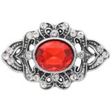 20MM design bouton pression argent plaqué avec strass rouge KC6907 s'encliquette bijoux