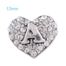 12MM loveheart-A snap silver Plated with white rhinestone KS6157-S snaps jewelry