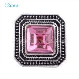 12MM Broche de plata antiguo plateado con diamantes de imitación rosa KS6149-S broches de joyería