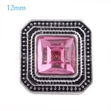 12MM Square snap Antique sliver Plated with rose rhinestone KS6149-S snaps jewelry