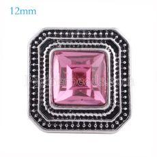 12MM Snap carré Menthe Antique Plaqué de strass rose KS6149-S s'encliquette