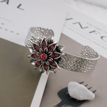 20MM Flower snap silver Plated with rose-red Rhinestones KC7658 snaps jewerly