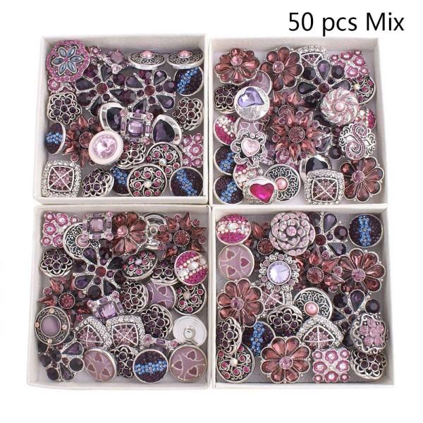 50pcs / lot Botones a presión 20mm Mix Púrpura, violeta mixmix colores