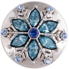 20MM Christmas snowflake snap silver Antique plated with blue rhinestone KC5392 snaps jewelry