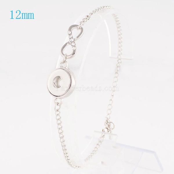 Botón 1 Chapado en plata antigua con diamantes de imitación transparentes KS0908-S pulseras de nuevo tipo que se ajustan a los trozos de broches 12mm