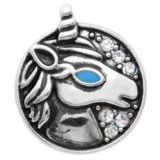 20MM Unicornio snap plateado plateado con diamantes de imitación KC9093 se ajusta a presión