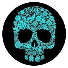 20MM Pintado cráneo esmalte metal C5719 estampado broches joyería cian