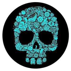 20MM Painted Skull enamel metal C5719 print snaps jewelry cyan