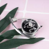 20MM mère snap argenté DS5141 avec strass clair et émail noir s'enclenche bijoux