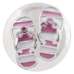 20MM Beach shoes snap silver plated with pink Enamel KC7500 interchangeable snaps jewelry