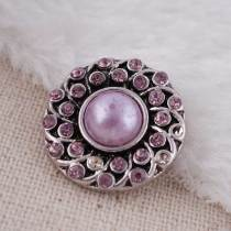 20MM round snap button Antique Silver Plated with purple imitation pearl purple rhinestone  snap jewelry