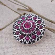 20MM fleur ronde snap Antique Silver Plated avec strass rose-rouge KC7087 snaps bijoux