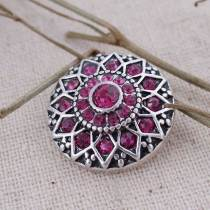 20MM round flower snap  Antique Silver Plated with  rose-red rhinestone KC7087 snaps jewelry