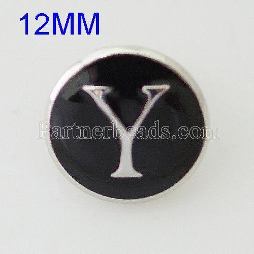 12mm Y Druckknöpfe Antikes Silber Überzogen mit Emaille KB6685-S Druckknopfschmuck