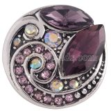 20MM design snap Antique Silver Plated with purple Rhinestone KC8701