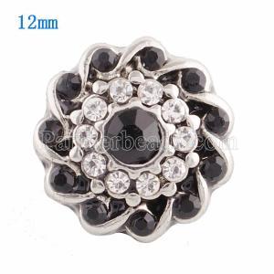 12MM Broche de flores plateado con diamantes de imitación negros KS9615-S broches de joyería