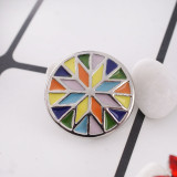 20MM round snap button Silver Plated with colorful Enamel KC9700 Multicolor