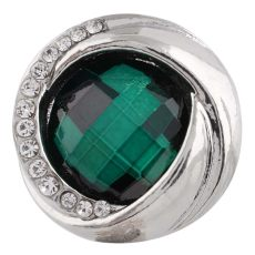 20MM design mousqueton argenté avec strass vert KC7450 mousquetons interchangeables