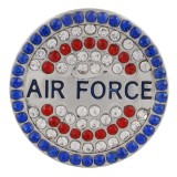 20MM空軍スナップスライバーメッキブルーラインストーンKC9776スナップジュエリー