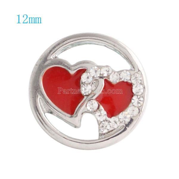 12MM Double Lovehearts Snap Versilbert mit klaren Strasssteinen und rotem Email KS6066-S Snaps