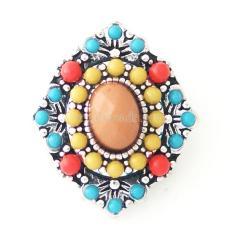 20MM Diamond Snap Antik versilbert mit kleinen Mehrfarbenperlen und Resin KB6438 Multicolor