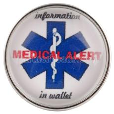 20MM enclenche le verre de bijoux interchangeables Snap MEDICAL ALERT C0550