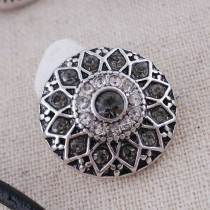 20MM round flower snap  Antique Silver Plated with gray rhinestone KC7086 snaps jewelry