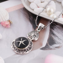 20MM Star  snap  Silver Plated with Enamel KB5042 black
