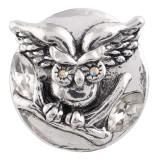 20MM Owl snap Chapado en plata antigua con diamantes de imitación blancos KC7414 joyería de broches intercambiables