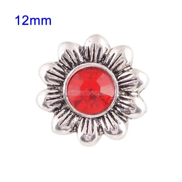 12mmチャンクジュエリー用の赤いラインストーン付きの小さなサイズのスナップ