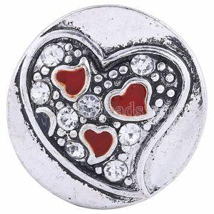 20MM valentine Loveheart snap Versilbert mit weißem Strass KC6050 snaps jewelry