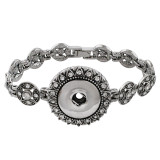 18CM 1 buttons snaps sliver bracelet with rhinestone fit 18&20MM snaps chunks