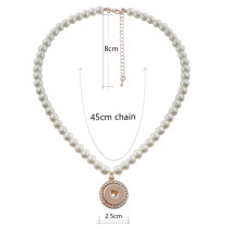 rose gold necklace with 45CM chain with pearl KC1051 fit 18mm chunks snaps jewelry