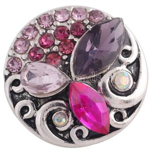 20MM design snap Antique Silver Plated with purple Rhinestone  KC8673