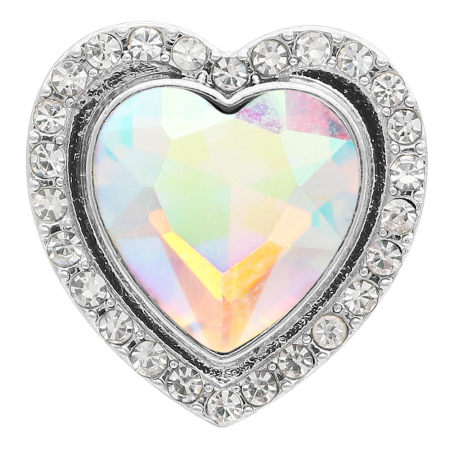 20MM heart-shaped design snap Silver Plated with  rhinestone KC9922 snaps jewelry