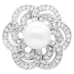 20MM pearl snap Silver Plated with white rhinestone and pearl KC7895 snaps jewelry