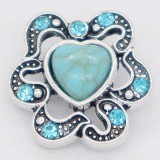 20MM loveheart snap Silver Plated with cyan Rhinestone and Turquoise KC6864