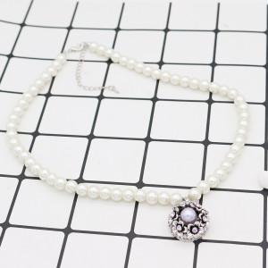 Broche de flores 20MM Plateado plata antigua con diamantes de imitación morados y perlas KC7690 broches de joyería