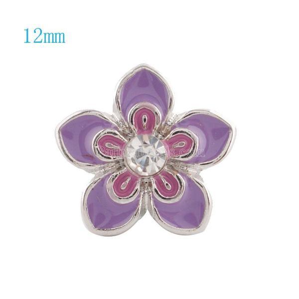 12MM Flower snap Plateado con diamantes de imitación y esmalte púrpura KS6028-S broches de joyería