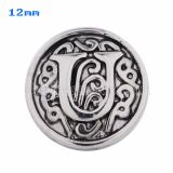 12mm U Antique snaps Silver Plated KS5023-S snap jewelry