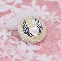 20MM Wing snap silver Plateado con esmalte amarillo KC6950 broches de joyería