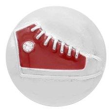 Chaussures de gymnastique 20MM snap plaqué argent avec strass et émail rouge KC7740 s'enclenchent joaillier