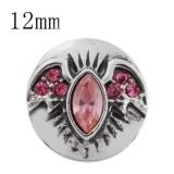 12MM Broche de ala de Halloween con murciélago de Halloween KS5161-S de diamantes de imitación rosa