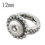 snaps adjustable sliver Ring with rhinestone fit 12mm snap chunks size 2cm